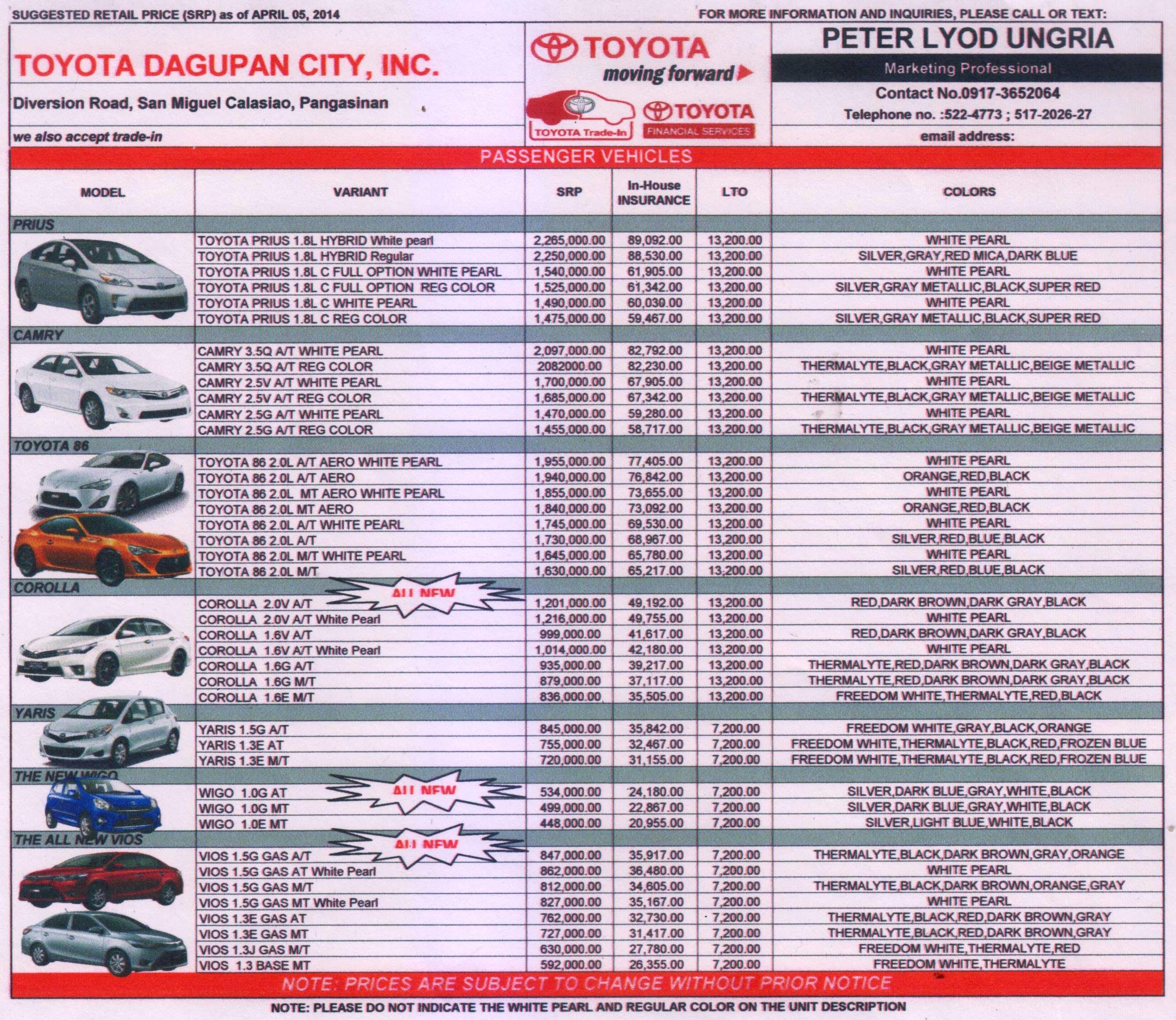 toyota dagupan price list | toyota dagupan city, inc.
