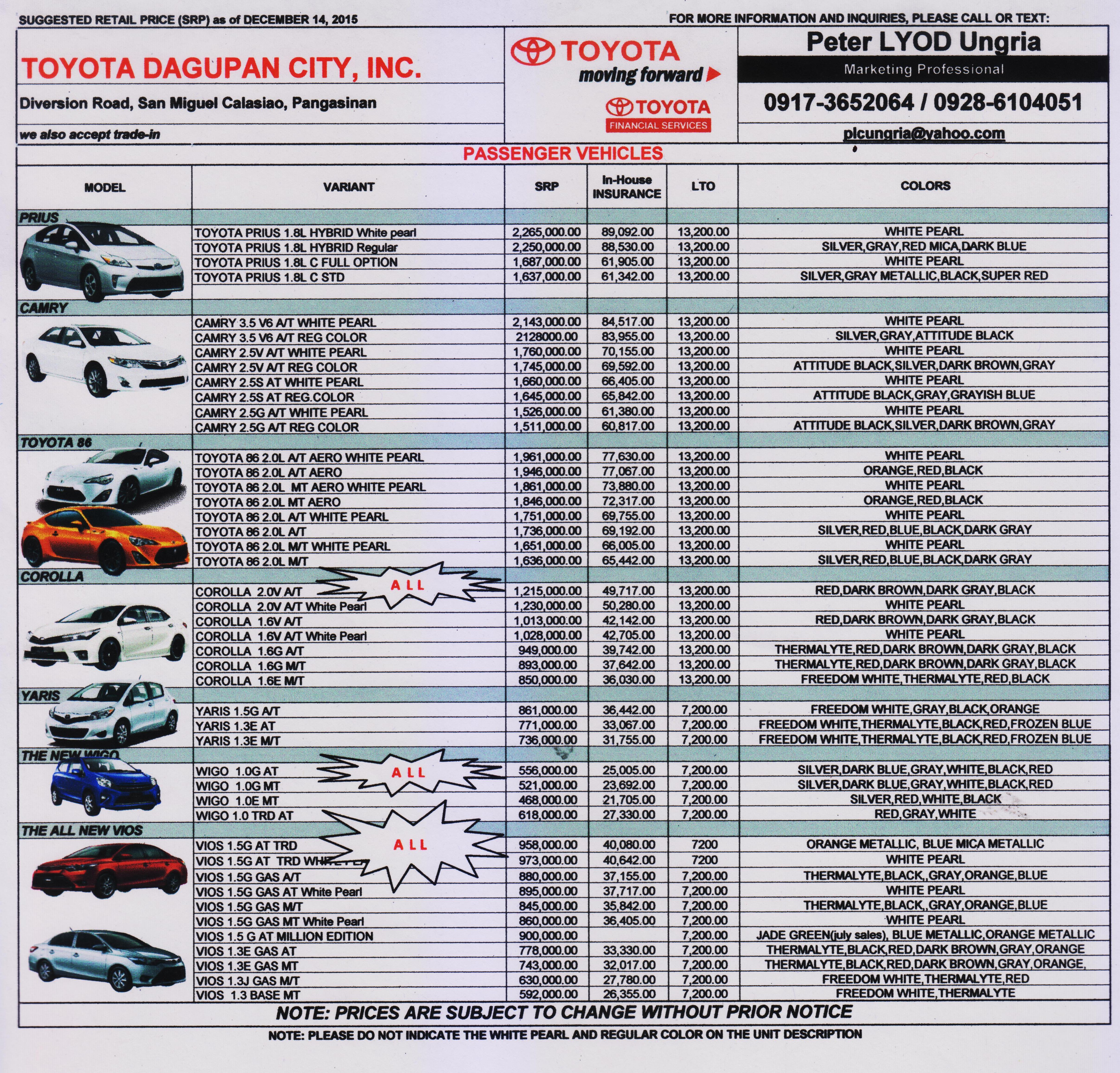 Toyota Fortuner Philippines Price List >> TOYOTA DAGUPAN PRICELIST DECEMBER 2015 TO JANUARY 2016 | TOYOTA DAGUPAN CITY, INC.