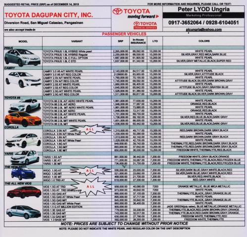 Toyota cars price list in philippines 2017 11