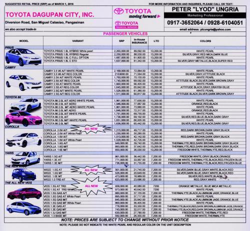 "PRICE LIST MARCH 2016 TOYOTA DAGUPAN CITY, INC. PETER ""LYOD"" UNGRIA 0917-3652064 * 0928-6104051"