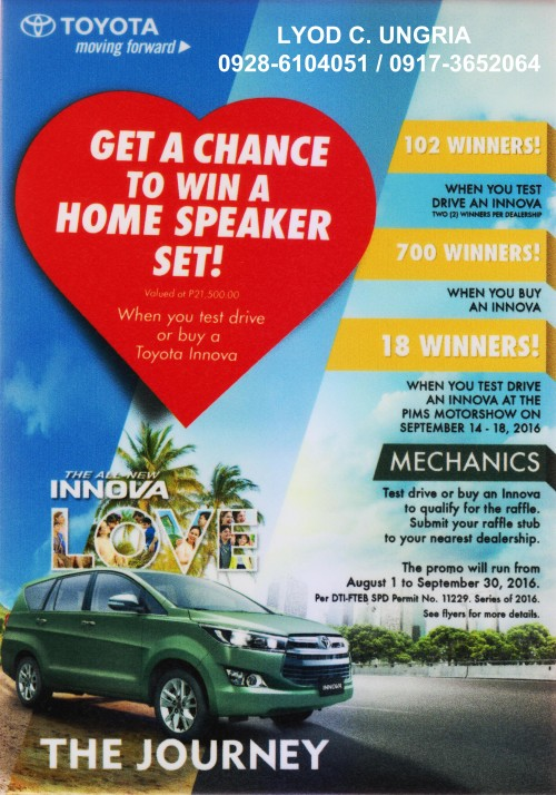 TOYOTA DAGUPAN CITY, INC. AUGUST PROMO 2016 PETER LYOD UNGRIA 0917-3652064 / 0928-6104051