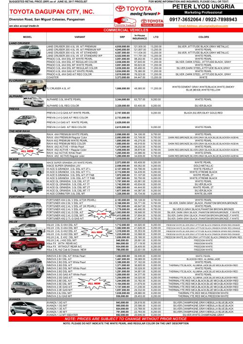 Toyota Pricelist June 2017 Toyota Dagupan City Inc Toyota